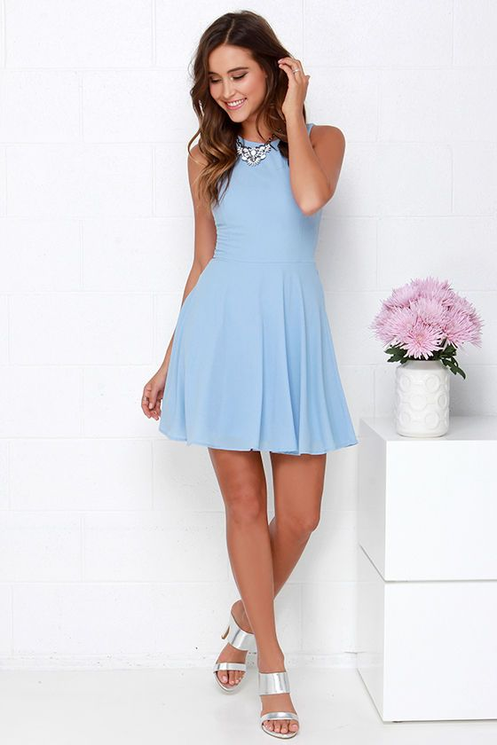 61db599fc4 Just slip into the Dee Elle At Ease Light Blue Skater Dress and let it show  you how easy it is to be breezy! Woven fabric shapes a rounded neckline  atop a ...