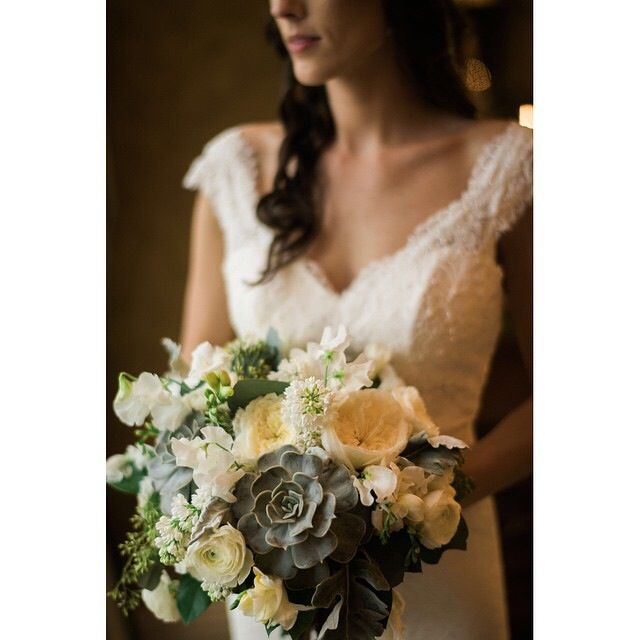 Vermont Wedding Flowers: A Beautiful Textural Bouquet With Succulents, Garden Roses