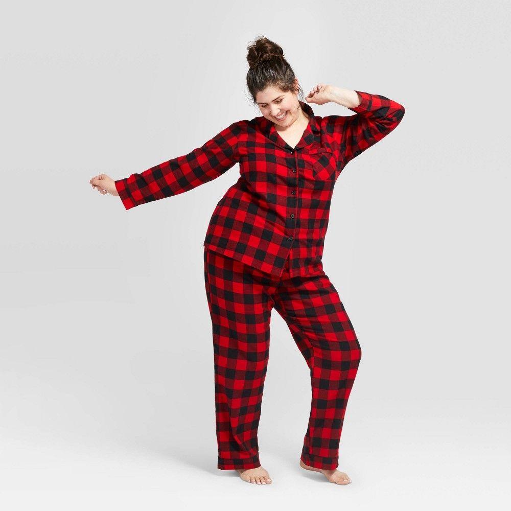 Women S Plaid Plus Size Holiday Buffalo Check Flannel Pajama Set Wondershop Red 1x Women S Size 1 Flannel Pajama Sets Pajama Set Flannel Pajamas