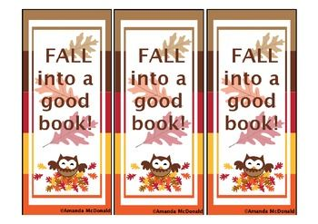 Fall into a Good Book Bookmark Freebie