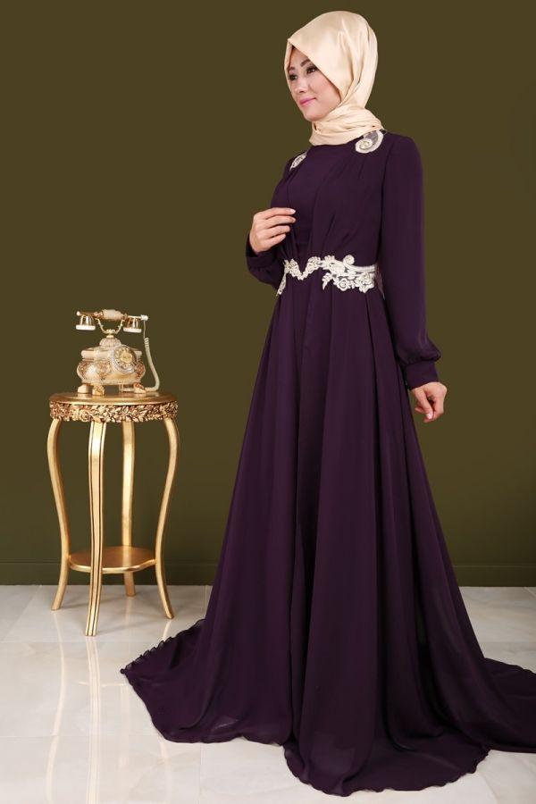Ruveyda Gold Detay Sifon Abiye Mor Urun Kodu Rz6080 149 90 Tl Moda Stilleri The Dress Mor