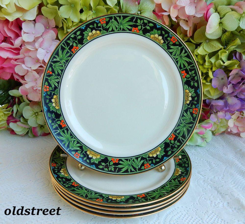 6 Early Lenox Tiffany \u0026 Co. Porcelain Luncheon Plates Black Band Enamel Flowers & 6 Early Lenox Tiffany \u0026 Co. Porcelain Luncheon Plates Black Band ...