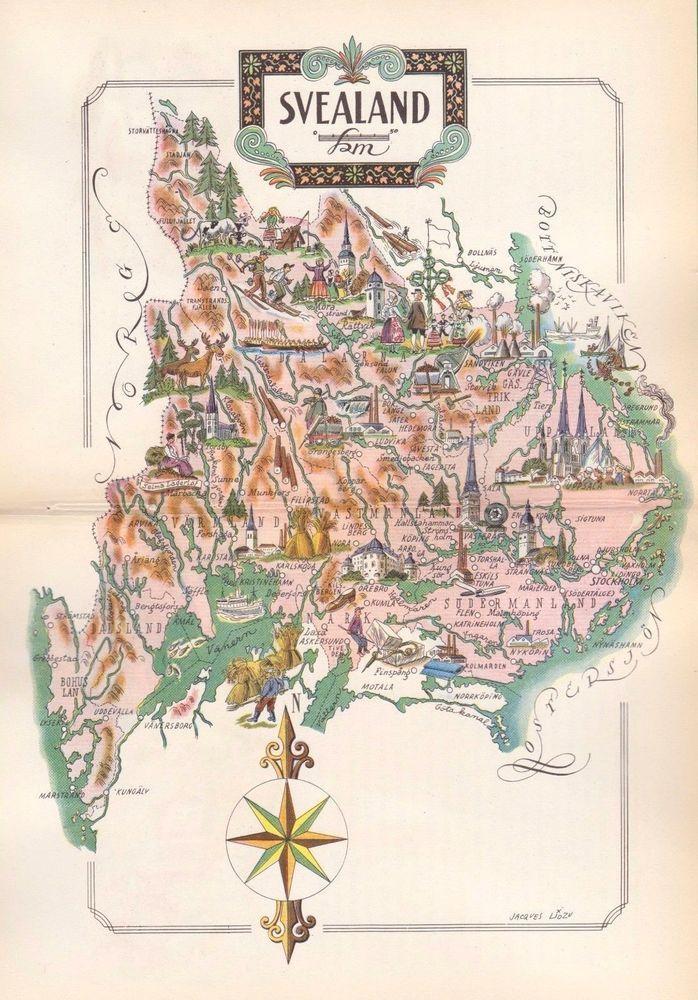 Vintage SVEALAND SWEDEN Map FUN Scandinavia Artistic Pictorial Map - Sweden vegetation map