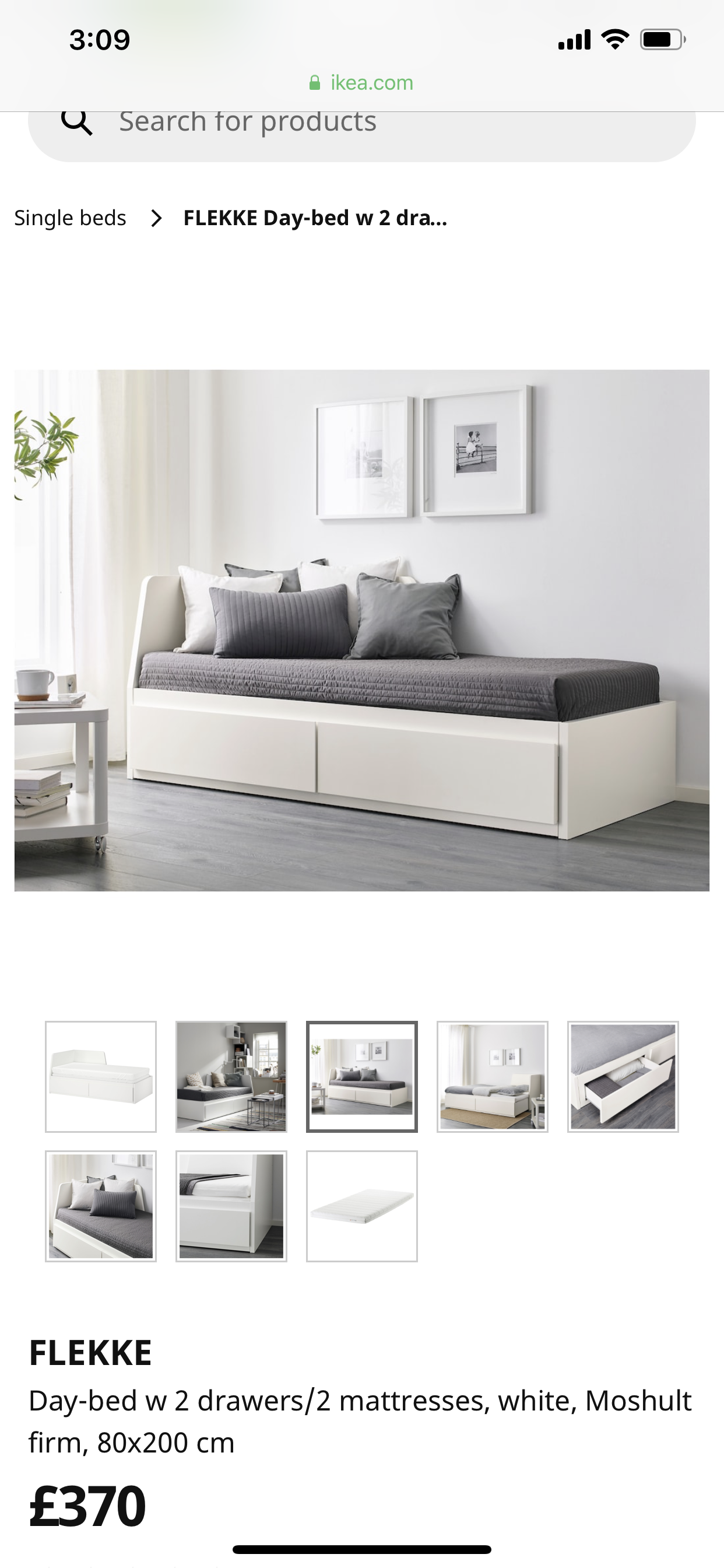 FLEKKE Daybed with 2 drawers2