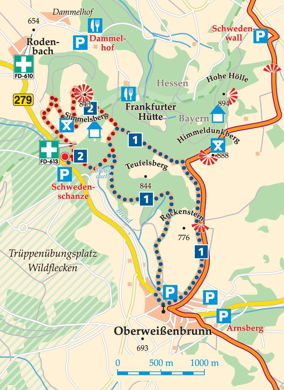 Rhon Rundweg 1 Schwedenschanze Karte Schanze Schweden Wasserkuppe