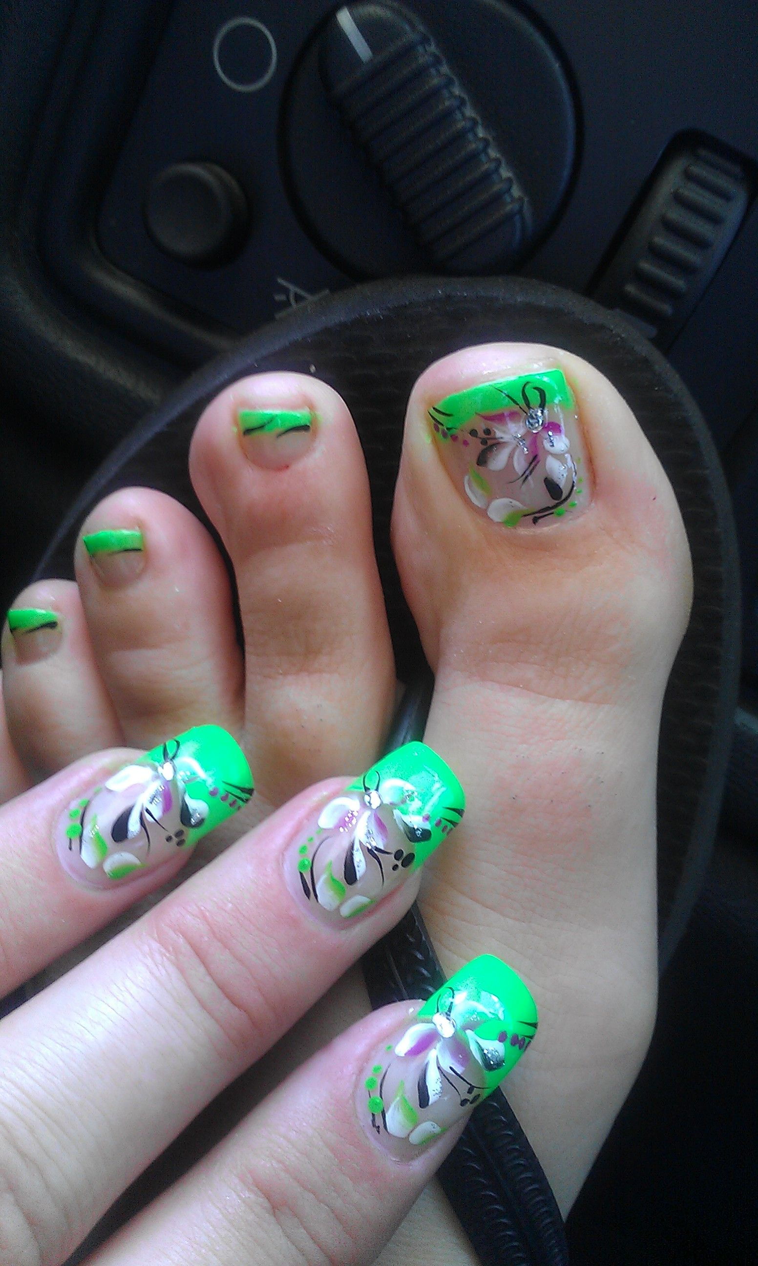 Lime Green Toenail Design (With images) | French nail ...