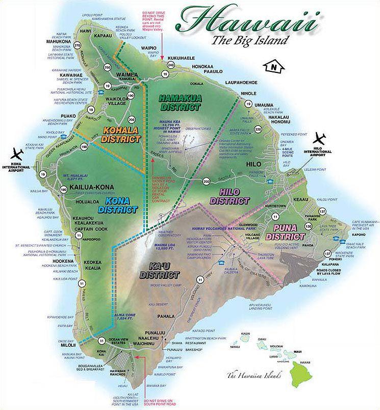 Hawaii Maps Kailua Kona Waikoloa Waimea Hi Island