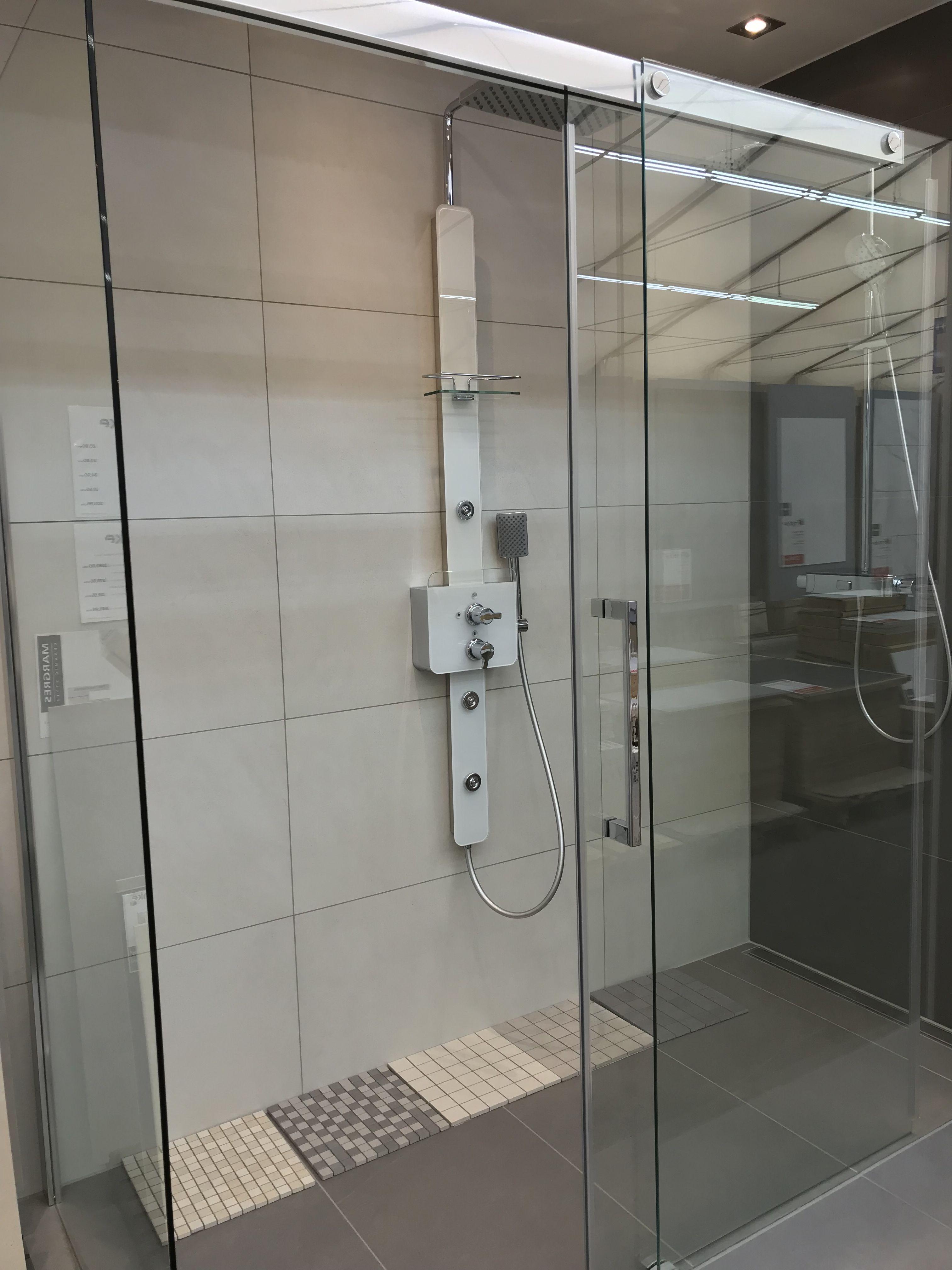 begehbare dusche, schiebetür mit softclose in 200x90 cm #dusche