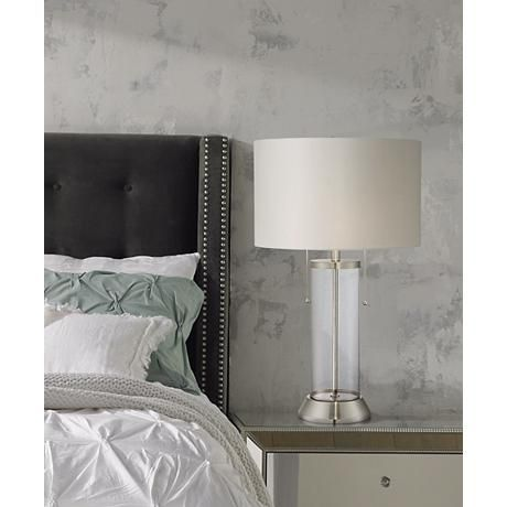 nightstand lamp with usb port usb charging fritz glass column table lamp with usb port and utility plug grown