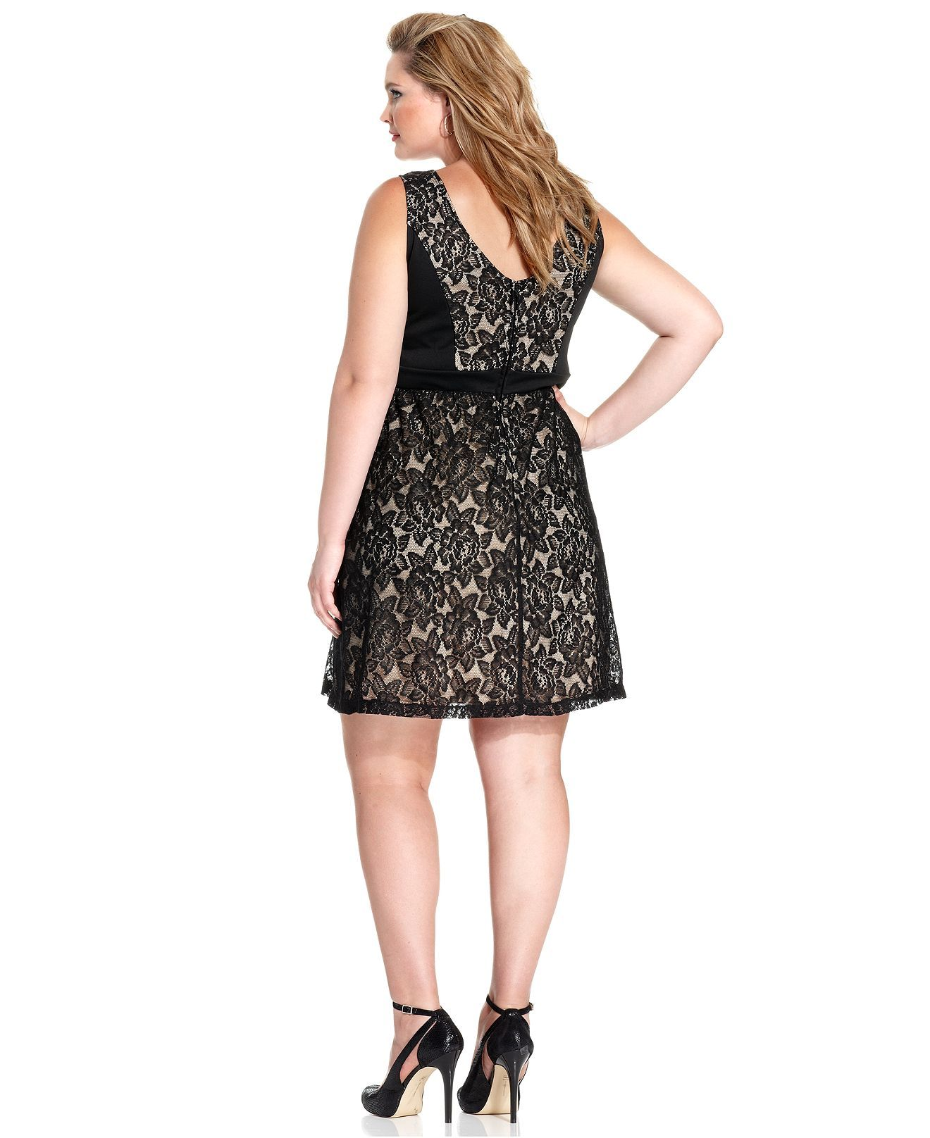 love squared plus size sleeveless lace a-line dress - dresses