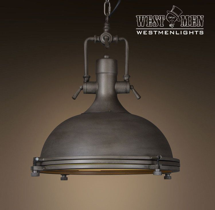 Industrial Lighting Lighting Rustic Light Steampunk: Large Dome 1 Light Brown Pendant Light