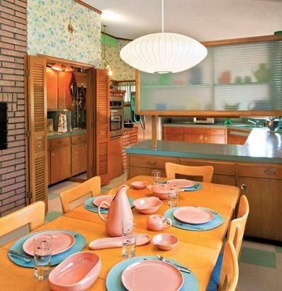 Wonderful Atomic Ranch: Midcentury Interiors   And Pink Russell Wright Modern  Dinnerware