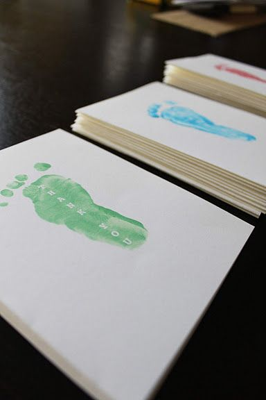 Footprint Thank You Cards! Cute but would take a long time- I would ...