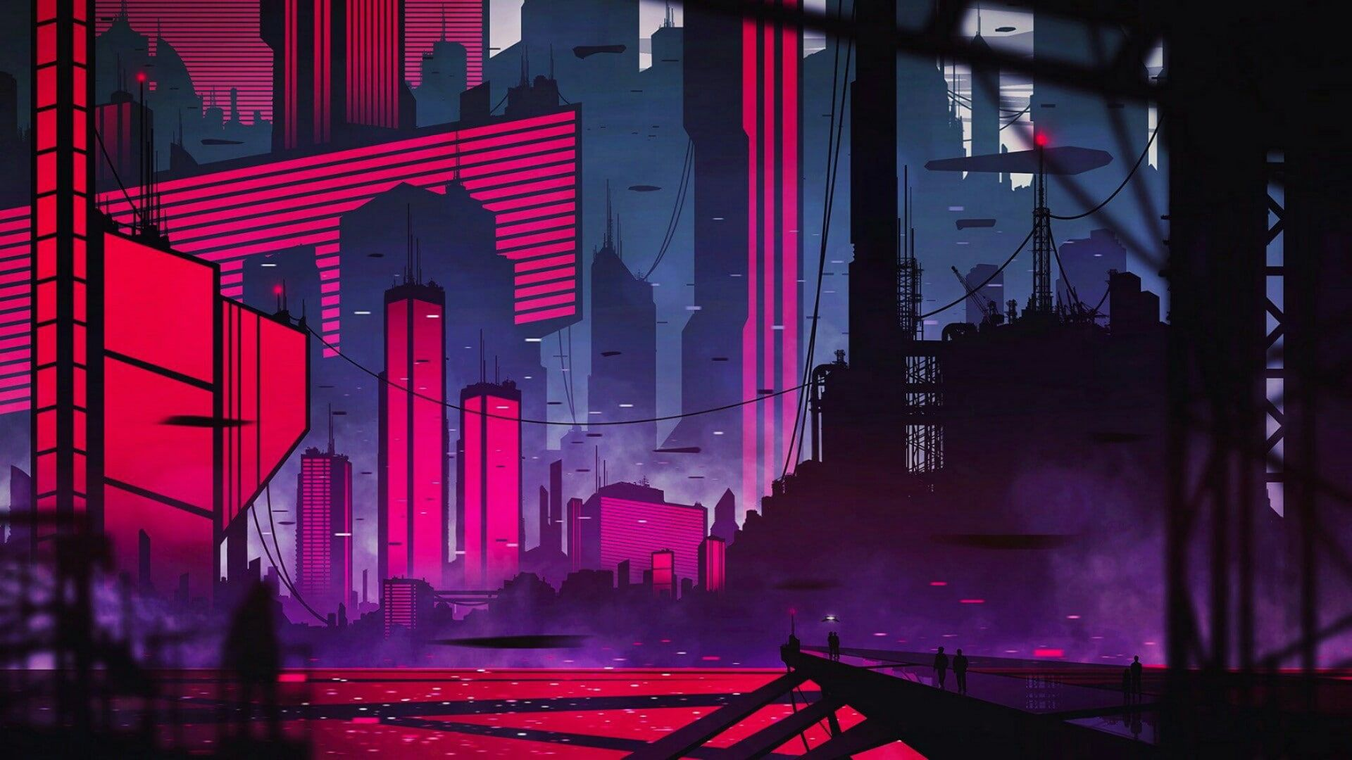 Future Neon City Skycraper Stage Metropolis Darkness Scene Night 1080p Wallpaper Hdwallpaper D In 2020 City Wallpaper Building Illustration Neon Aesthetic