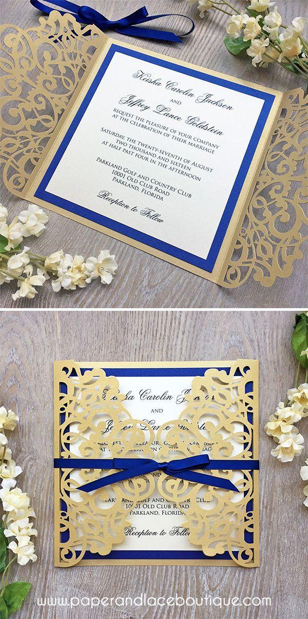 Laser Cut Wedding Invitation - Metallic Gold Gatefold with Royal ...
