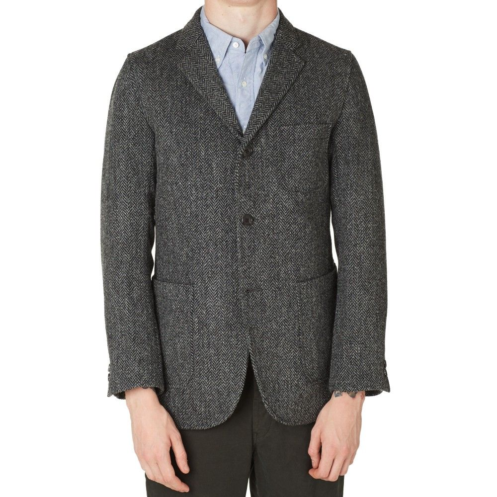 cc0c8be852d1f Beams Plus 3 Button Harris Tweed Blazer (Grey Herringbone)