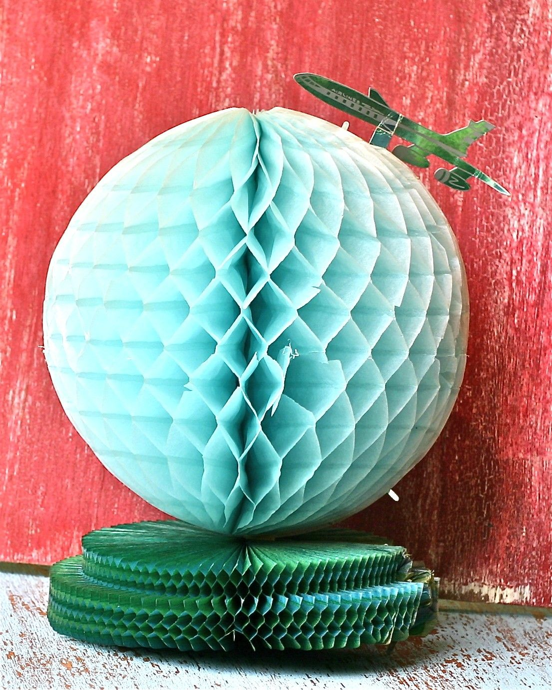 Vintage Party Decoration Honeycomb Tissue Globe and Airplane. $5.00, via Etsy
