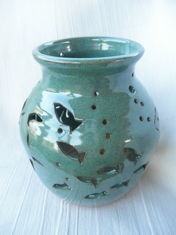 Candle Lantern Carved Pottery Lantern By