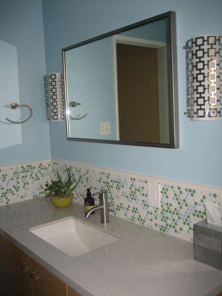 Penny Round Tile Backsplash White Yellow And Orange Tile Backsplash Bathroom Tile Backsplash Bathroom Vanity Vanity Backsplash