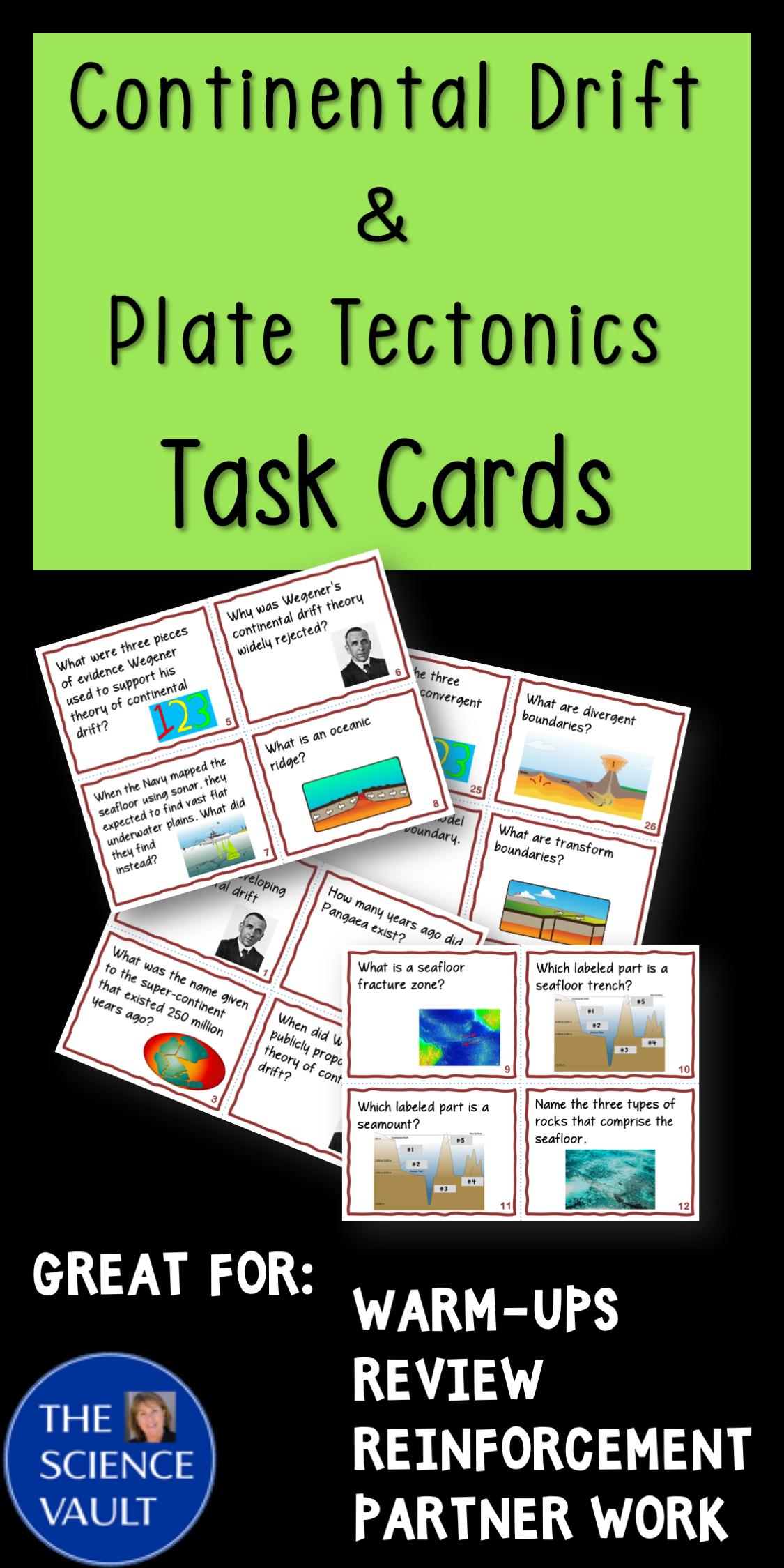 Continental Drift Amp Plate Tectonics Task Cards