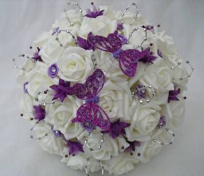 Silver And Purple Wedding Bouquets Artificial Flowers Wedding