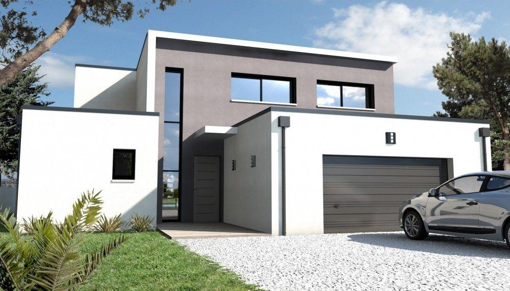 Constructeur maison moderne nantes schuman loire - Constructeur maison contemporaine toit plat avec pasio ...