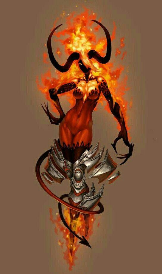 Half Fiend Female Efreet - Pathfinder PFRPG DND D&D d20 fantasy