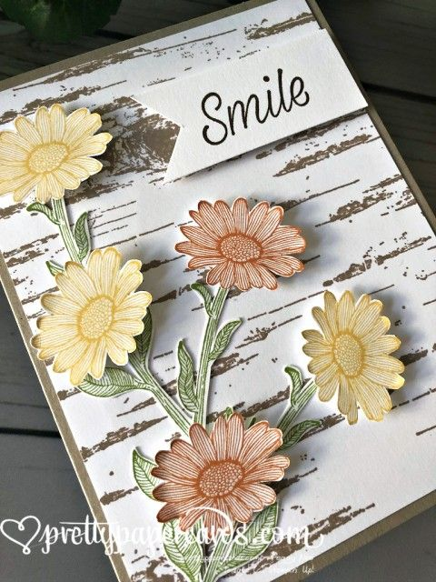SHOP MY 24/7 ONLINE STORE Stampin' Up! Daisy Lane - Smile Card- Peggy Noe of Pretty Paper Cards; stampinup #flowercards