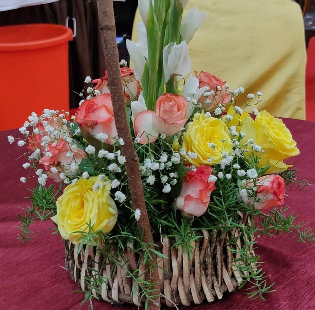Tabletop basket Beautiful basket filled with flowers on tabletop... indianweddingblog