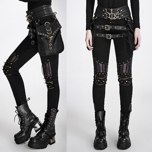 Women Black Spike Slim Fit Hard Punk Rock Fashion Pants ...