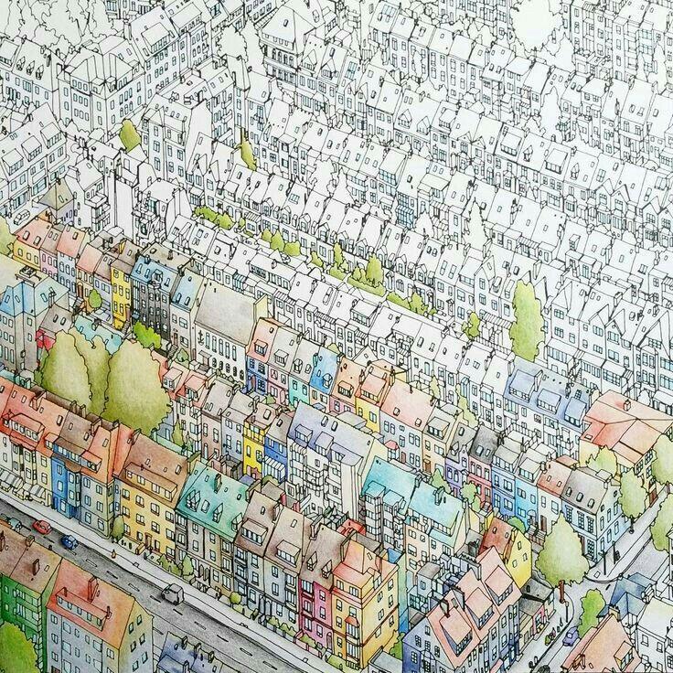 Adult Coloring Colouring Books Mcdonalds Zentangles Hobbies Buildings In Cities