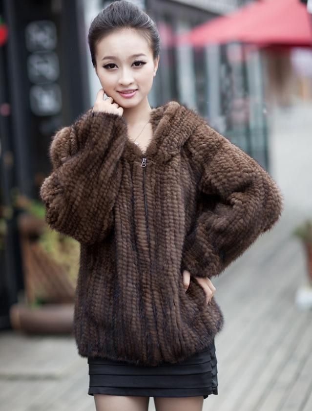 Hot Sale Real Fur Coats Women Handmade Knitted Mink Fur Coat With ...