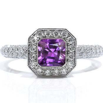 Emerald Cut Amethyst Diamond Engagement Ring - This elegant Emerald Cut Amethyst  Diamond Engagement Ring is
