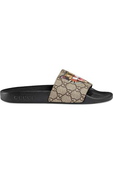 fe36c1d31ba GUCCI Pursuit Tiger Print Slide Sandal.  gucci  shoes  sandals ...