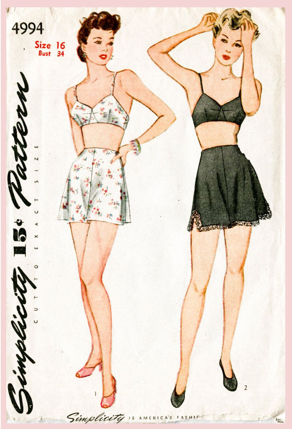 Vintage sewing pattern 1940s 40s lingerie bra and tap shorts bust 34 ...