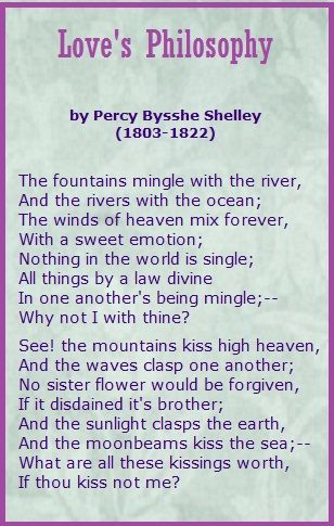 Love S Philosophy Percy Bysshe Shelley Poetry Poems