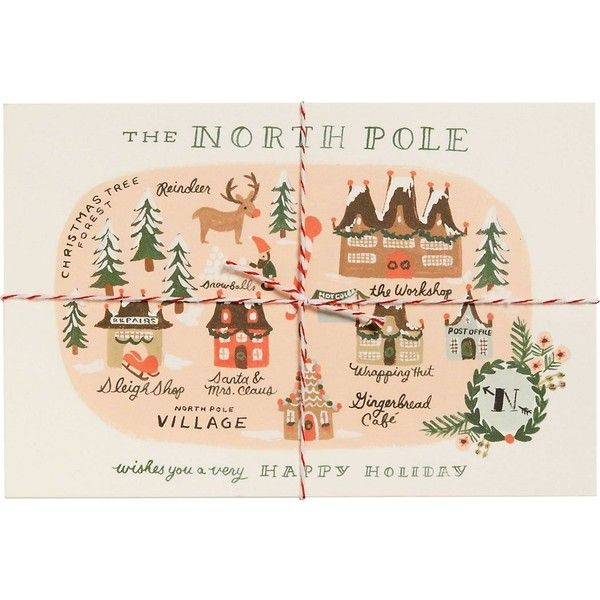 North Pole Map Postcards ($13) ❤ liked on Polyvore