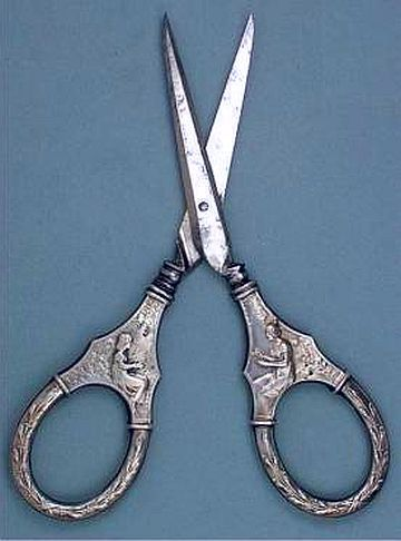 """Antique Silver """"Sewing Girls"""" Embroidery Scissors - Germany - Circa 1890s."""