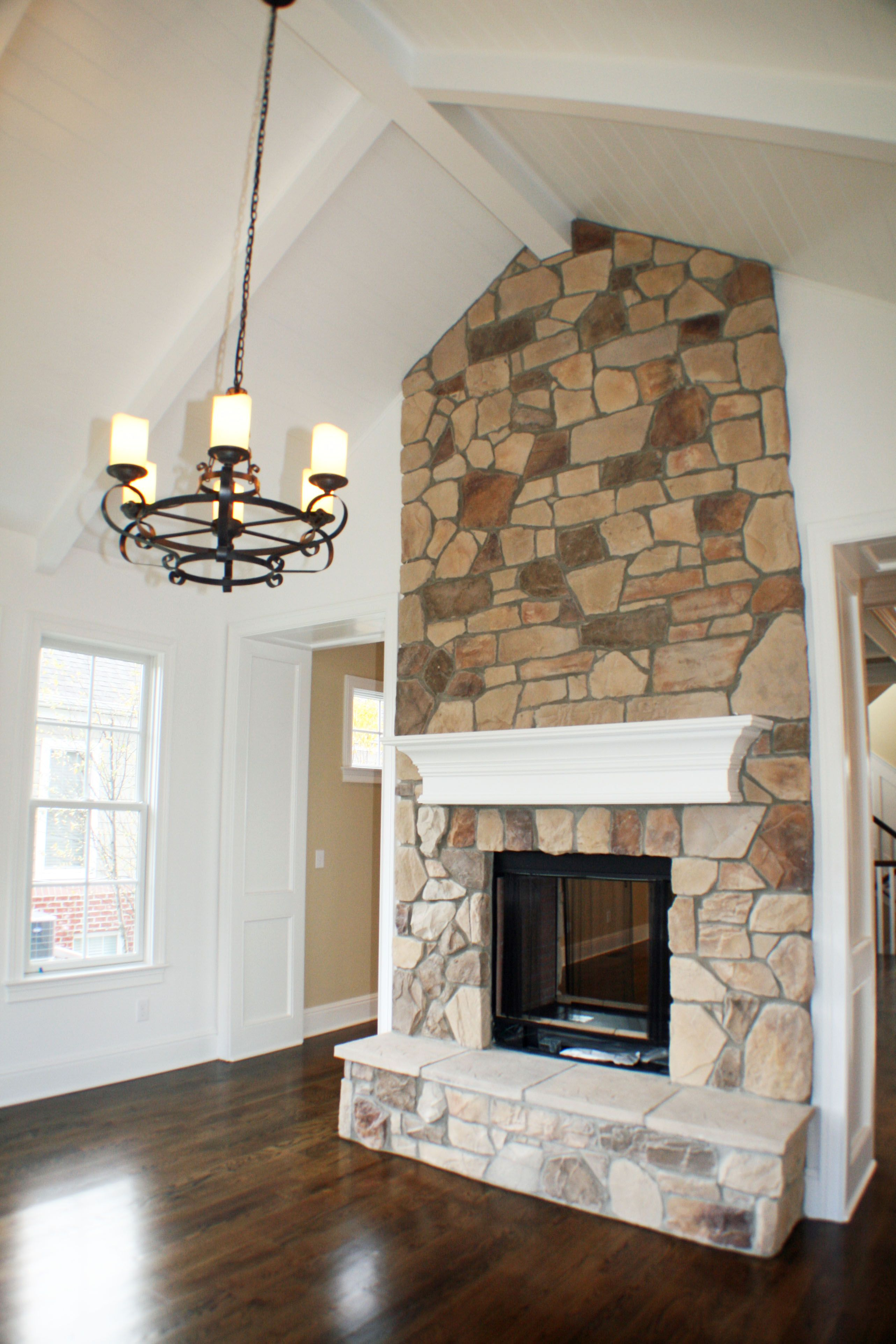 Specialty Ceiling And Stone Fireplace In The Ann Arbor Hearth