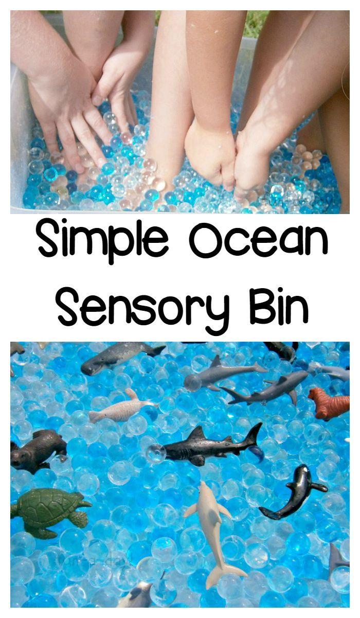 2 Material Ocean Sensory Bin That Is Super Simple To Make