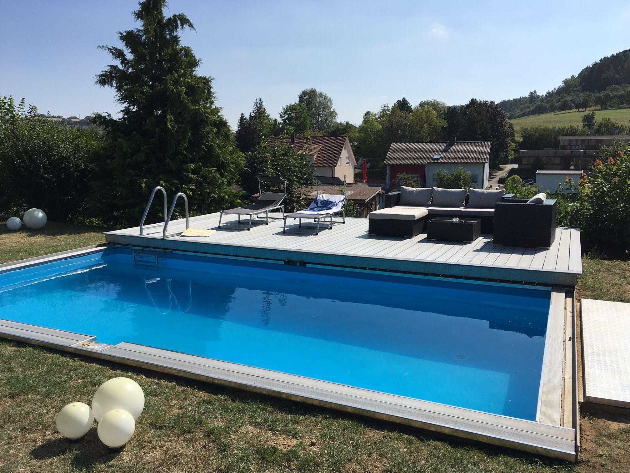 selbstbau pool mit verschiebbarem deck was f r eine geniale idee bei badewetter wird das. Black Bedroom Furniture Sets. Home Design Ideas