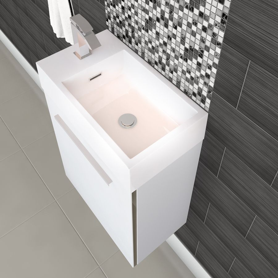 Cutler Kitchen Bath Boutique White Single Sink Vanity With White Cultured Marble Top Common 18 In X 10 In Lowes Com White Vanity Bathroom Small Bathroom Vanities Kitchen And Bath