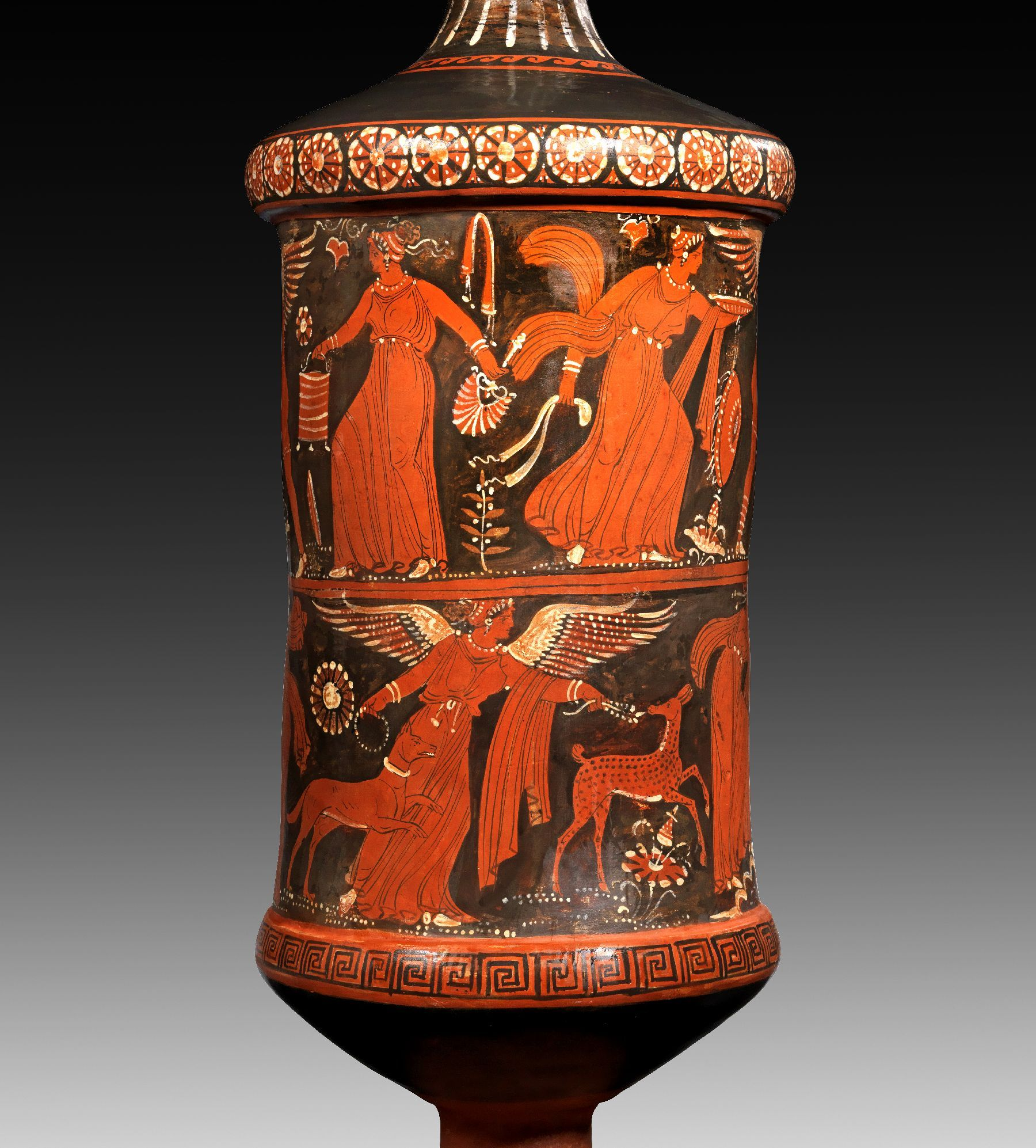 Apulian Red Figure Loutrophoros Of Monumental Size Of The Baltimore Painter Attributed By K Schauenburg About 320 B C Further Figure Ancient Greek Art Greek Art Ancient Art