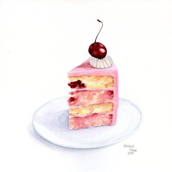 Birthday Cake Watercolour Painting
