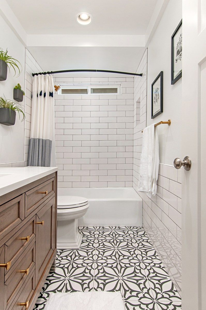 Beautiful Bathrooms With Black And White Cement Tile Kitchen And Bath Design Bathrooms Remodel Small Bathroom Remodel