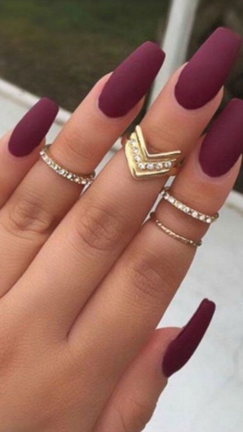 Outstanding Holiday Winter Nails Art Designs 2019 27 101outfit Com Burgundy Matte Nails Matte Nails Design Fall Acrylic Nails