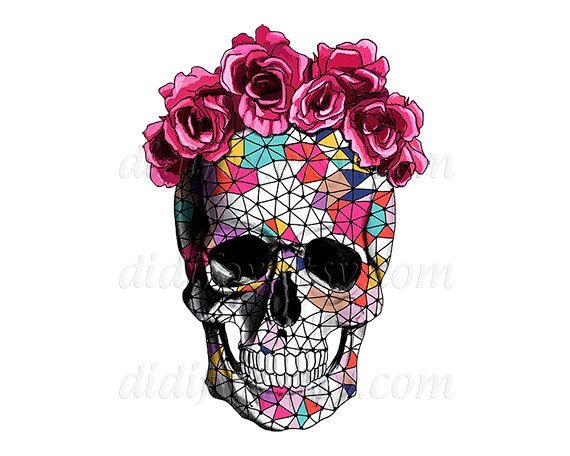 A0001 Sugar Skull In Floral Crown Wreath Calavera Digital