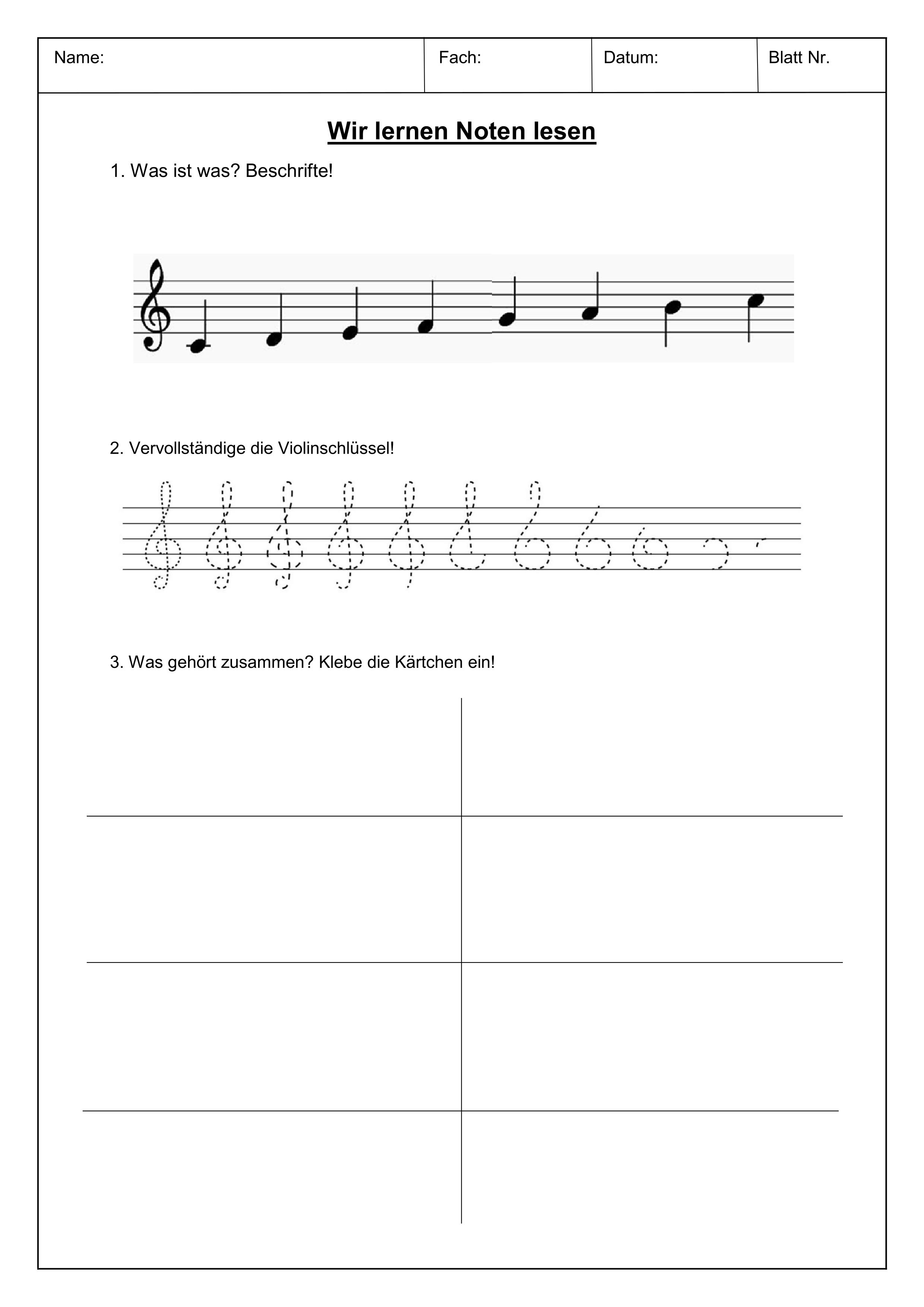 Wir lernen Notenlesen   Paket – Unterrichtsmaterial im Fach Musik ...