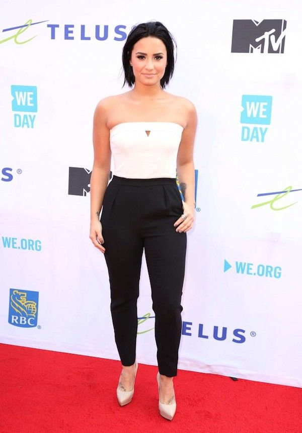 Demi Lovato appeared on the red carpet of WE Day Toronto 2015.