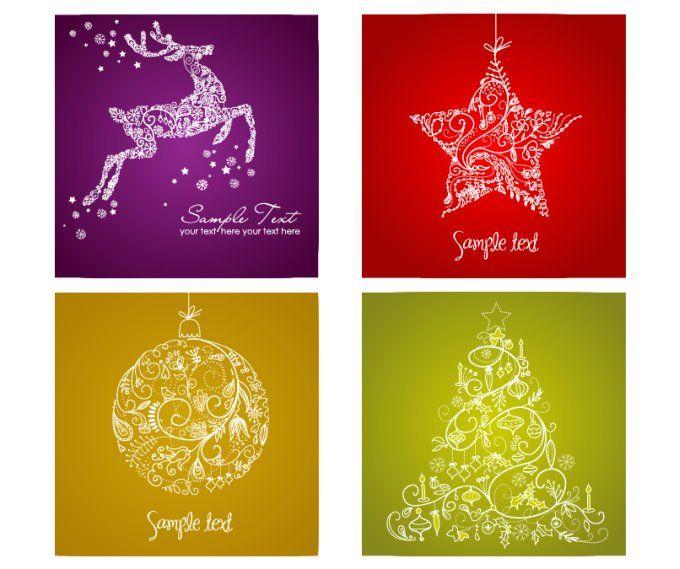 On some special occasions such as christmas or new year card is christmas is comming this set includes four christmas vector cards reindeer star christmas decorative toy and herrinbone on beautiful gradient reheart Images